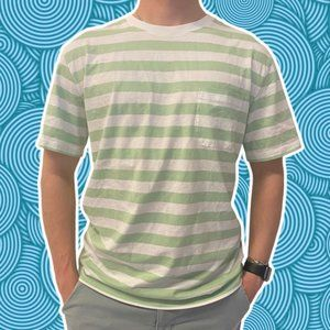 Richer Poorer Striped Green White T-Shirt Crewneck